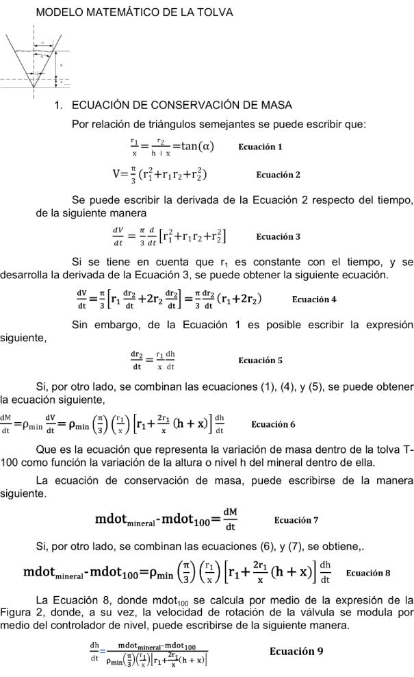 Figura 7. Desarrollo del modelo matemático de conservación de masa en la tolva