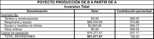 Figura 3. Anexo de inversiones, proyecto de producción de B