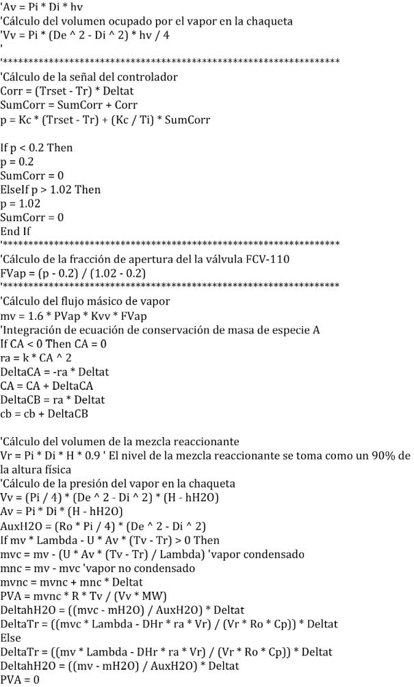 Figura 6.2 Código VB del programa de simulación