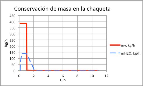 Figura 10. Conservación de masa en chaqueta-explosión