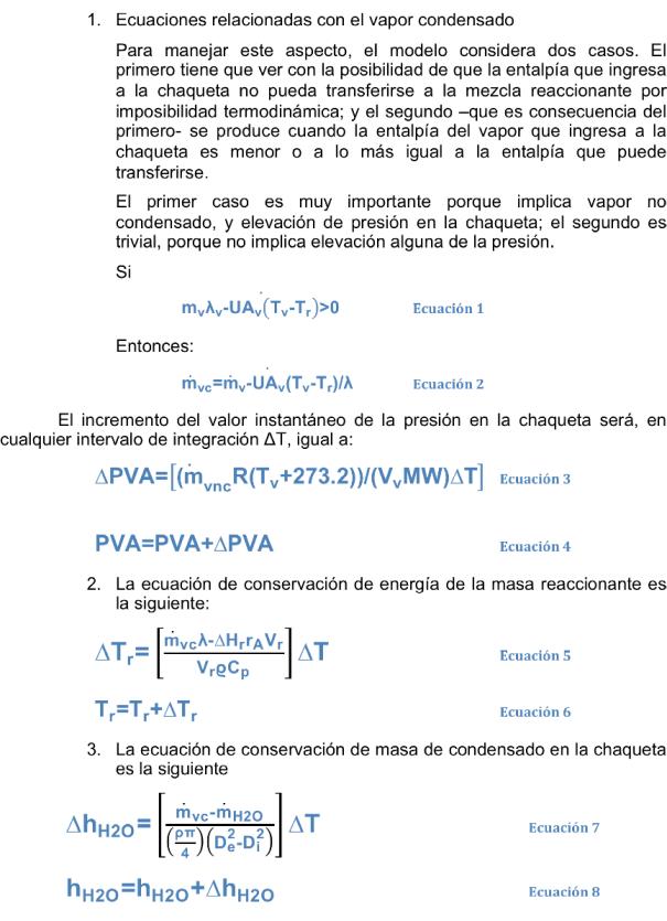 Figura 2. Ecuaciones del modelo de la chaqueta