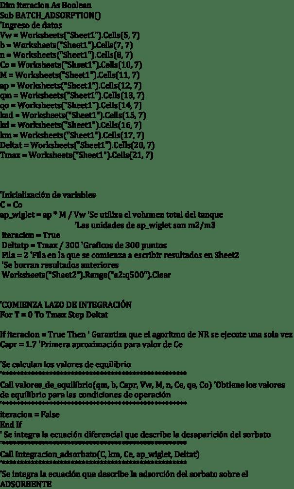 Figura 2. Programa de simulación en VBA