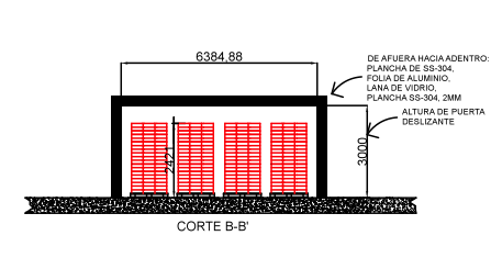 Figura 1. Vista en elevación del cuarto frío