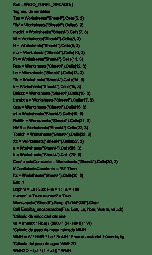 Figura 6. Código del Programa de simulación