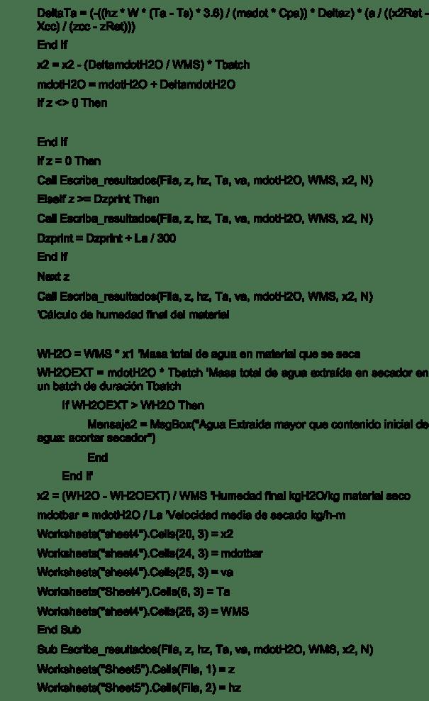 Figura 7. Código del programa de simulación, continuación