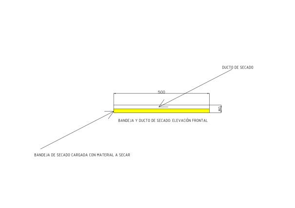 Figura 2. Elevación frontal de la combinación ducto de aire-bandeja de secado