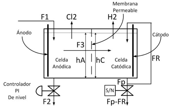 Figura 8. Configuración de la celda electrolítica